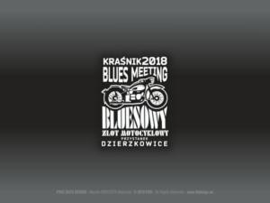 Zlot Bluesowy na festiwalu Kraśnik Blues Meeting 2018 - Przystanek Dzierzkowice - Znak graficzny i wzór m.in. na koszulki, materiały reklamowe, piny.