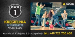 STACJA 1 Restauracja - Kręgielnia - Night Club. Projektowanie i wykonanie materiałów promocyjnych, cenników, wizytówek jak również reklam na billboardy.