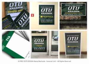 OTU KRAS\ŚNIK - projekty elementów identyfikacji wizualnej i materiały promocyjne nowej siedziby ośrodka.