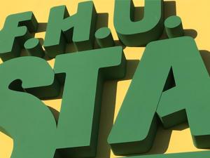 STAMAR - szyld reklamowy z literami przestrzennymi wyciętymi ze styrodurze 8cm pomalowanymi na kolor firmowy klienta. Projekt, wykonanie i montaż.