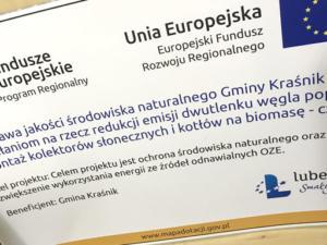 Tablica informacyjna dla Gminy Kraśnik.